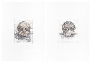 Impressions skull, Oil and graphite on paper, 2 X 80cm X 60cm, 2013