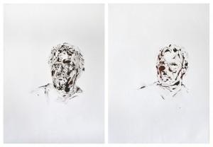Impression self-portrait, Oil on paper, 2 X 102,4cm X 72,4 cm, 2012